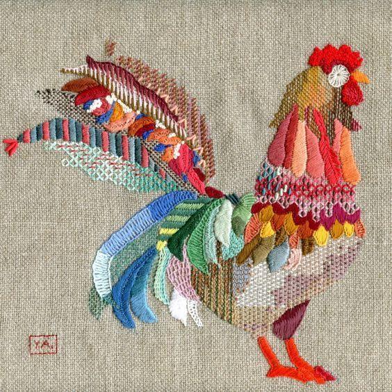 Crewel chicken