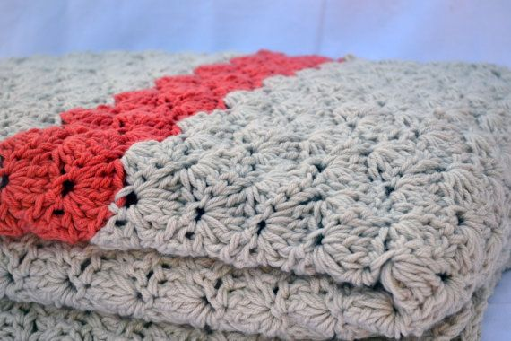 King size cream and coral crochet afghan lap by ValkinThreads2,