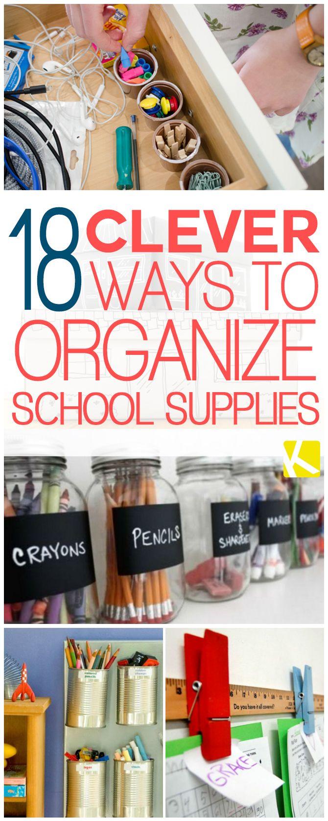 18 Clever Ways to Organize School Supplies