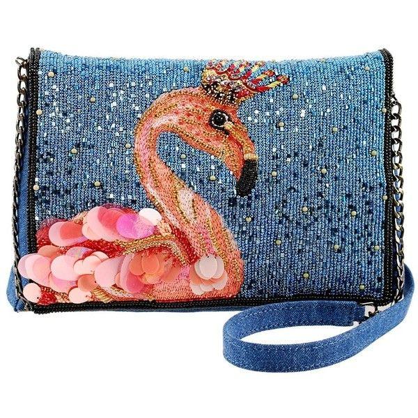 Queen Flamingo Embellished Denim Crossbody Novelty Handbag featuring polyvore, women's fashion, bags, handbags, shoulder bags, beaded, embellish, blue crossbody purse, crossbody shoulder bag, crossbody handbag, denim shoulder bag and handbags shoulder bags