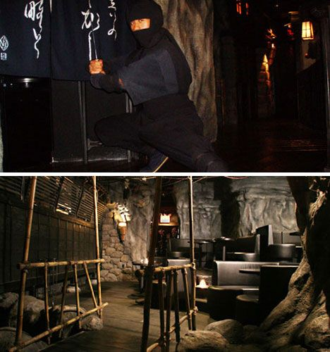 "I'd love to eat at Ninja New York. Guests are led to the subterranean eatery through a ""secret path"" where ""ninjas"" lurk in the shadows, and brought to a table housed within a dungeon-like chamber.  The ninja waiters perform magic tricks that extend into the meal, like sauces that catch on fire."