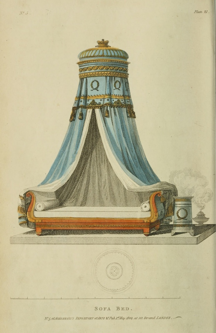 1809 - Sofa Bed from Ackermann's Repository. Another great example in the Napoleonic collection in the Louvre. Yes, I know this does not exactly go in this section,  but it fits with the Regency fashions!