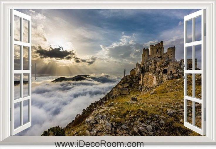 3D Ruinas Del Castillo Nubes window wall sticker art decal IDCCH-LS-001275