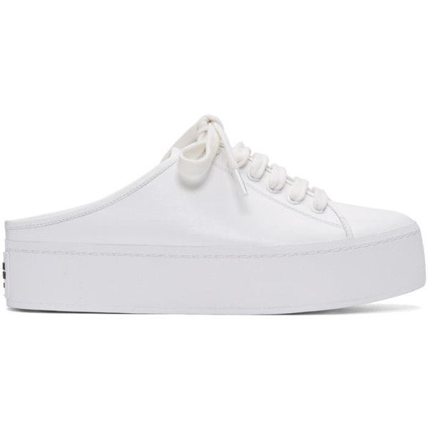 Opening Ceremony White Cici Lace-Up Slide Sneakers ($270) ❤ liked on Polyvore featuring shoes, sneakers, white, platform slip-on sneakers, white shoes, white slip on sneakers, slip-on shoes and platform slip on sneakers