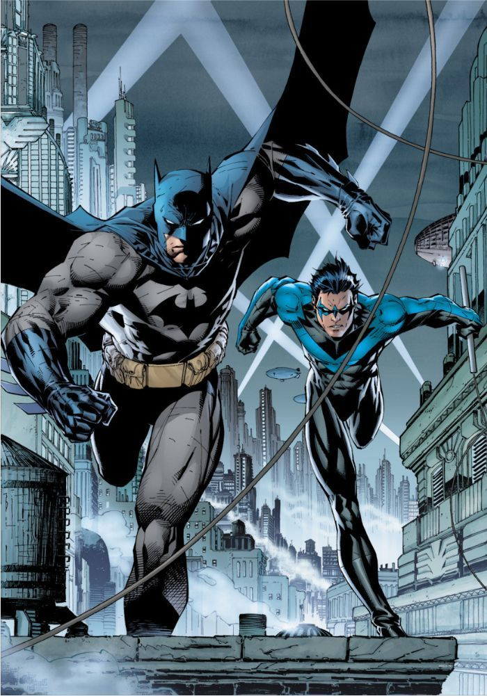 Batman And Nightwing This Marvelous Metal Poster Designed By Dc Comics To Add Authenticity To Your Place Batman Comic Art Dc Comics Wallpaper Jim Lee Batman