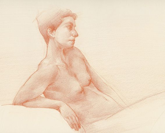 Reclining, by Cyprian Libera Coloured pencil on paper