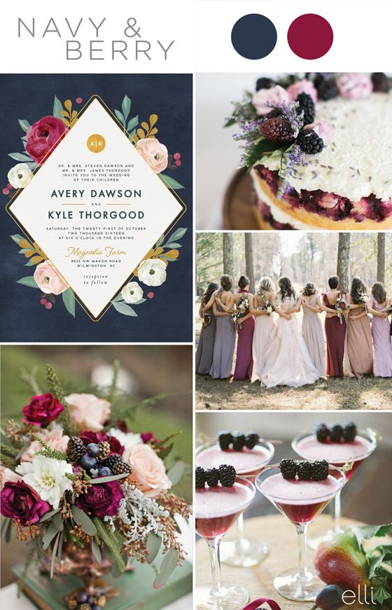 Five Gorgeous Navy Blue Color Palettes for 2017 Weddings