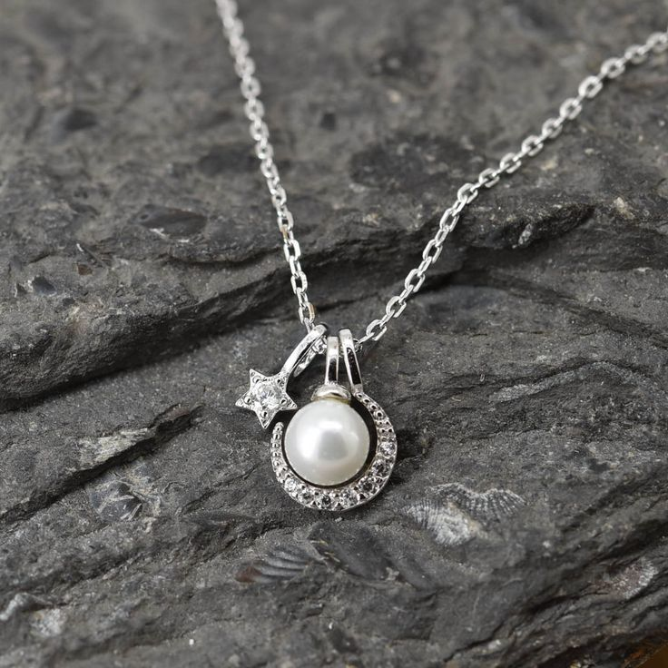 Moon Star Necklace, Moon Star Pendant Jewelry, 925 Sterling Silver, Pearl Crystal Necklace Pendant, Bridesmaid Gift, Bridesmaid Necklace by JubileJewel on Etsy