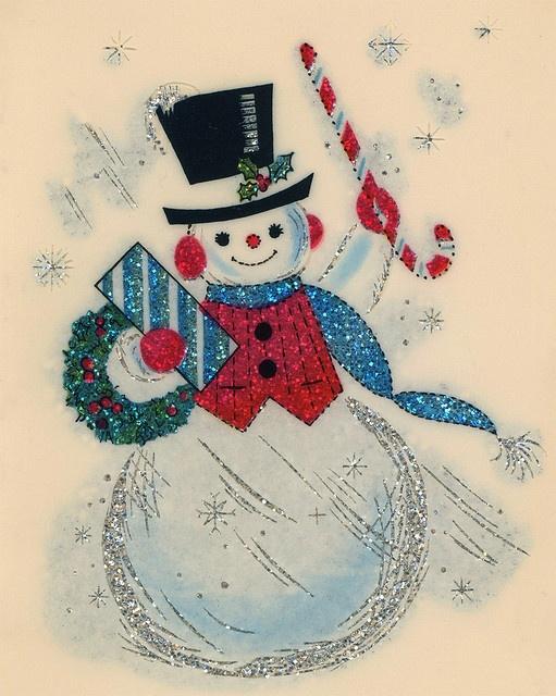 Vintage Christmas Card SngubbarSnowman Pinterest