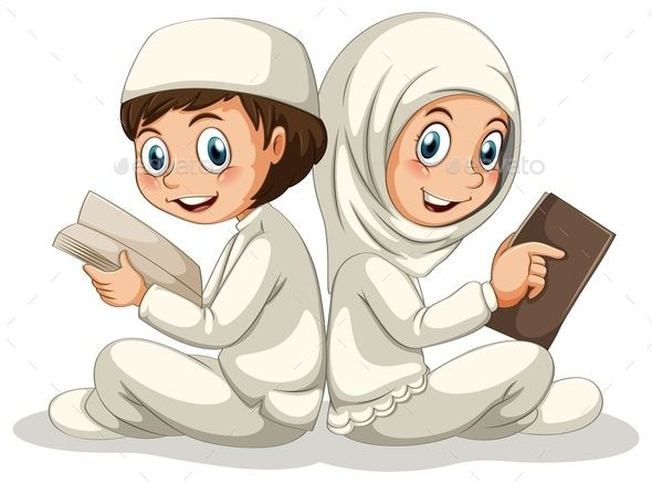 Muslim (JPG Image, Vector EPS, CS, books, boy, cartoon, child, children, costume, education, girl, happy, hat, hobby, islam, islamic, isolated, kid, knowledge, muslim, on white, outfit, people, person, picture, reading, scarf, sitting, smiling, tradition, white, white background)