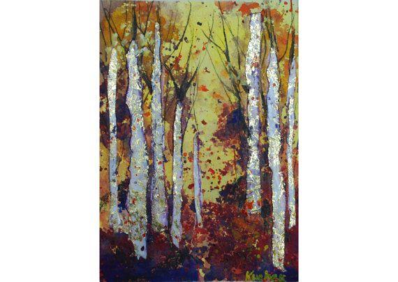 Golden Trees Digital Artwork 8 x 10 by TheSplatteredWall on Etsy