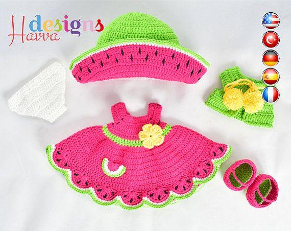 PATTERN  - (JUST CLOTHES) Watermelon Dress (crochet, amigurumi)