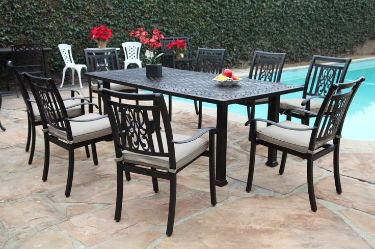 "Outdoor Cast Aluminum Patio Furniture 9 Piece Heaven Collection Dining Set CBM1290. Outdoor Cast Aluminum Patio Furniture 9 Piece Heaven Collection. Features: 8 Armchairs with free Cushions and One 84"" Rectangular Table. Color: Black Antique Brown with POWDER COATED FINISH. Low maintenance care, Please see the detail pictures. Table dimensions: 84"" L x 42"" W x 30"" H. Under Table Clearance 28"" Table weight: 80 lbs. Chairs dimensions: 25""L x 22"" W x 34"" H. Armchair weight: 13 lbs.(It's One..."