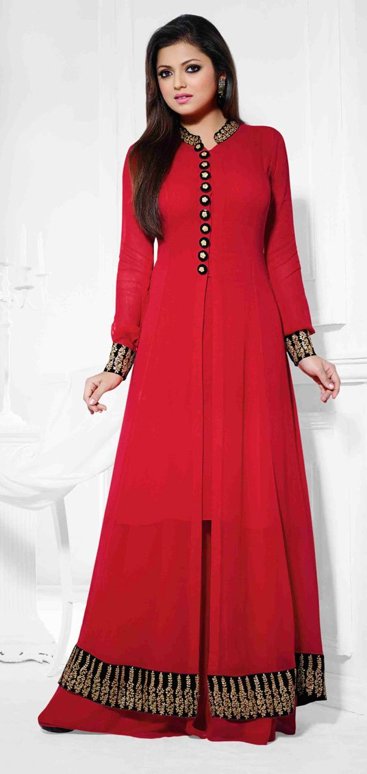 USD 60.27 Red Georgette Sharara Style Suit 47259