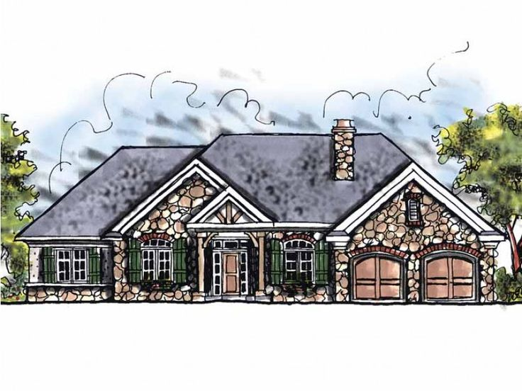 French Country Style 1 Story 3 Bedrooms(s) House Plan With 1882 Total Square