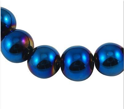 80 - 8mm Royal Blue Electroplated Round Glass Beads. Starting at $1 on Tophatter.com!