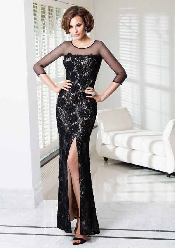 Style EZYOI Lace and Sequin Dress  Colors Available: Black/Nude. Sizes Available: 2-26* *Please refer to the VM size chart.