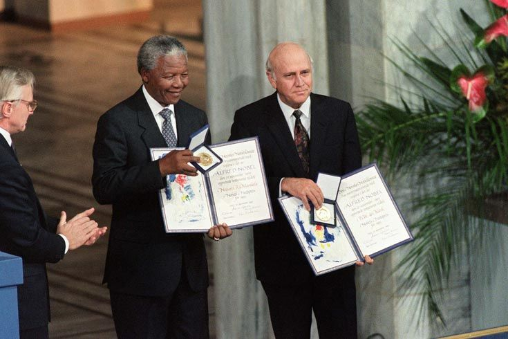 1993: Mandela and FW de Klerk, former South African president, were jointly awarded Nobel Prizes for their work to end Apartheid peacefully.
