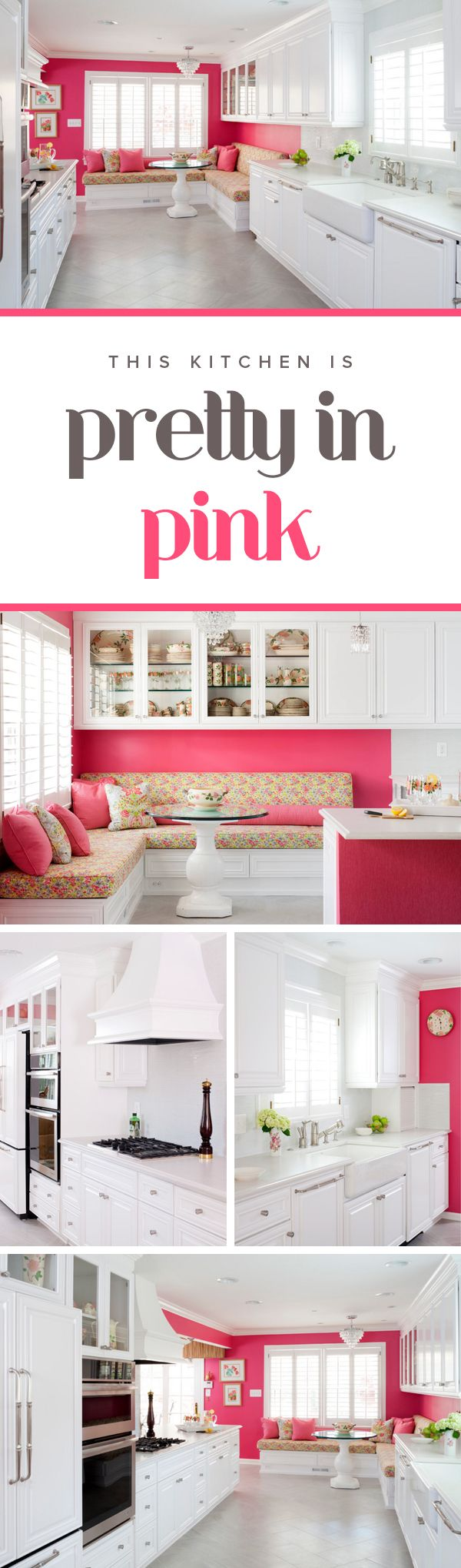These kitchen pops with its bright pink walls. The white cabinets and appliances gives this kitchen a modern yet playful look.