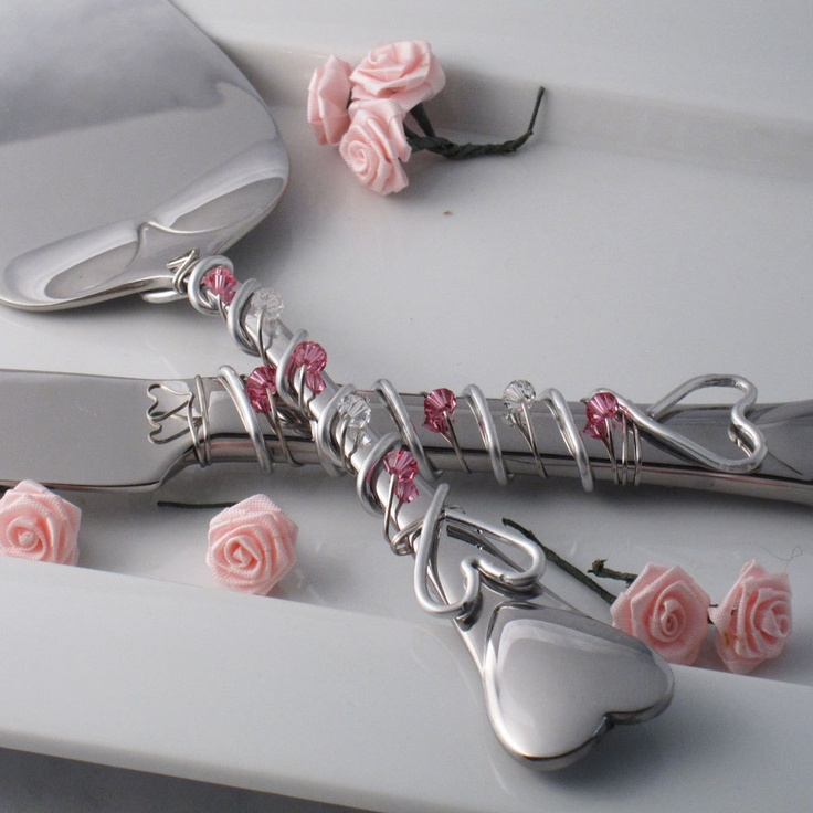 Custom colors - Hand wire wrapped and beaded 2 piece cake server set - Hearts with Swarovski crystals. $65.00, via Etsy.