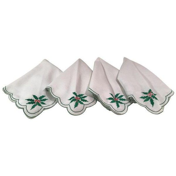 Vintage Holiday Poinsettia Napkins - Set of 4 ($25) ❤ liked on Polyvore featuring home, kitchen & dining, table linens, kitchen accessories, vintage napkins, vintage kitchen accessories, holiday table linens, vintage table linens and holiday napkins