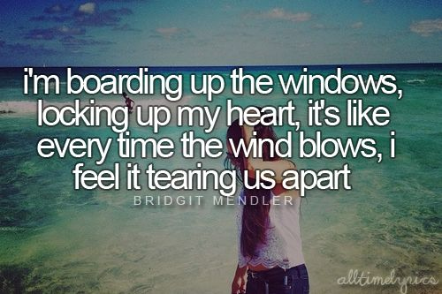 """Every time he smiles I'd let him in again, everything is fine when you're standing in the eye of the hurricane. -Bridgit Mendler """"Hurricane"""""""
