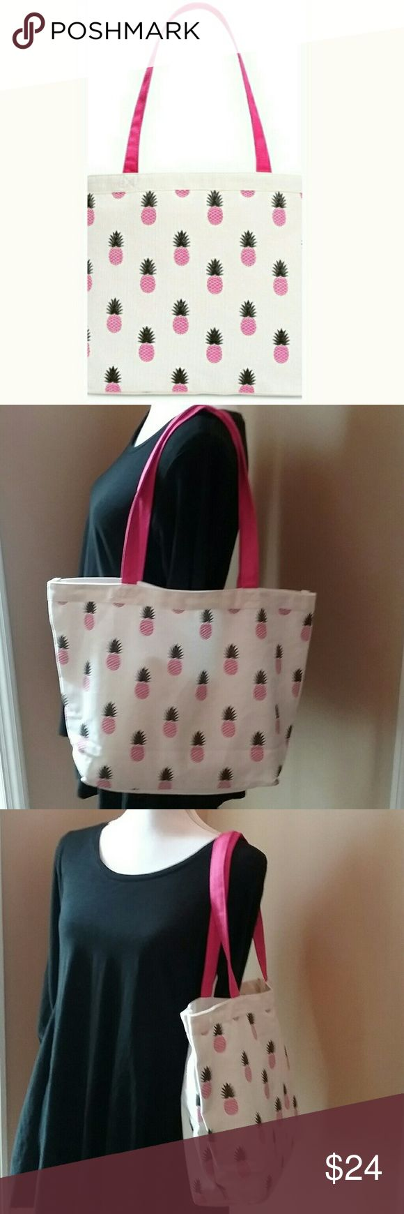 """🆕Macy's Tropical Pineapple Canvas Beach Bag This canvas beach bag with pink pineapple overlay print is both fun and functional. No top closure. Unlined. Approximate measurements: 16.5""""l x 11.5""""h with 10"""" strap drop. Macy's Bags Totes"""