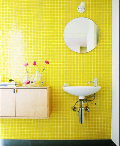 Yellow bathroom tiles