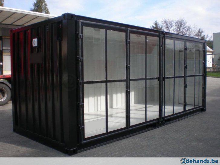 Showroomcontainer Met Glazen Deur Openend Over De