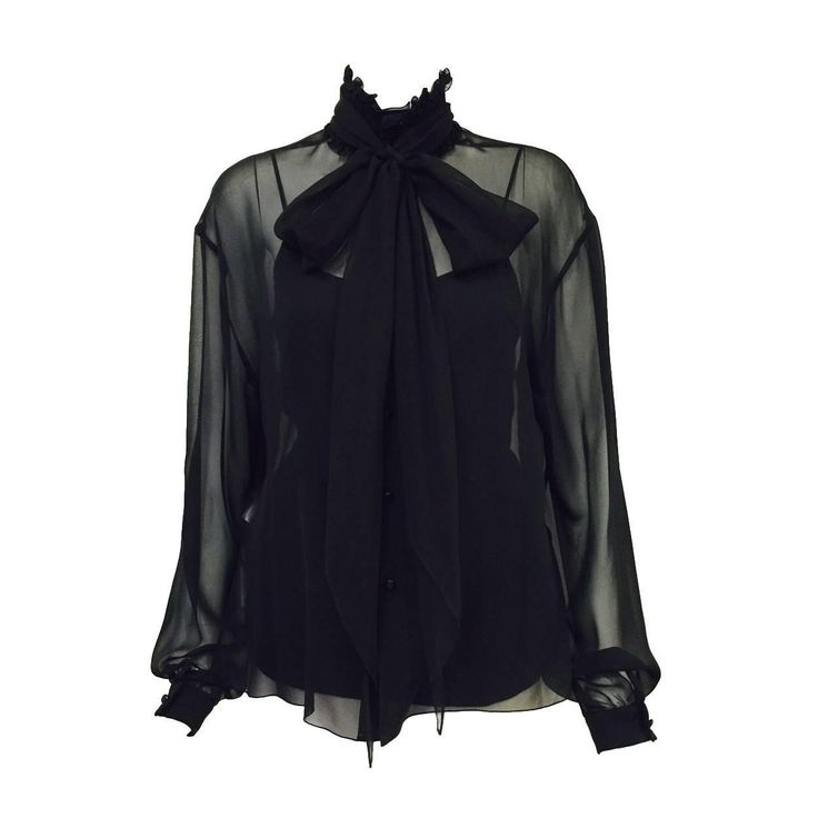 Chanel Spring 2001 Black Sheer Silk Blouse from a collection of rare vintage blouses at https://www.1stdibs.com/fashion/clothing/blouses/