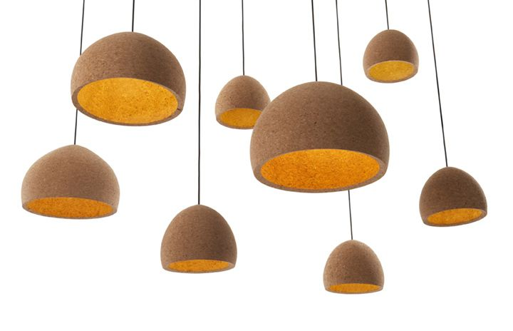 The Float pendant light, a hand-turned design crafted from a large block of recycled agglomerate cork, is a collaboration between Benjamin Hubert and Scandinavian lighting manufacturer & Tradition.