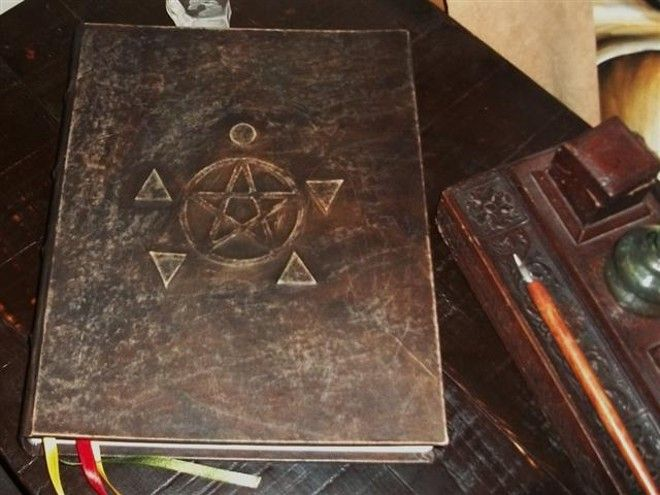 Blank book of shadows-wicca-post bound-Pentacle and elements-grimorio-libro delle ombre-Streghe