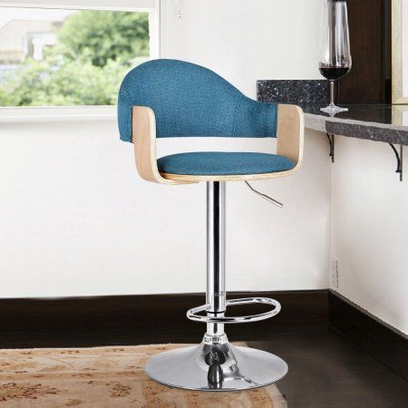 Adeco Malmberget Teal Fabric Modern Bar Stool With Arm, Blue