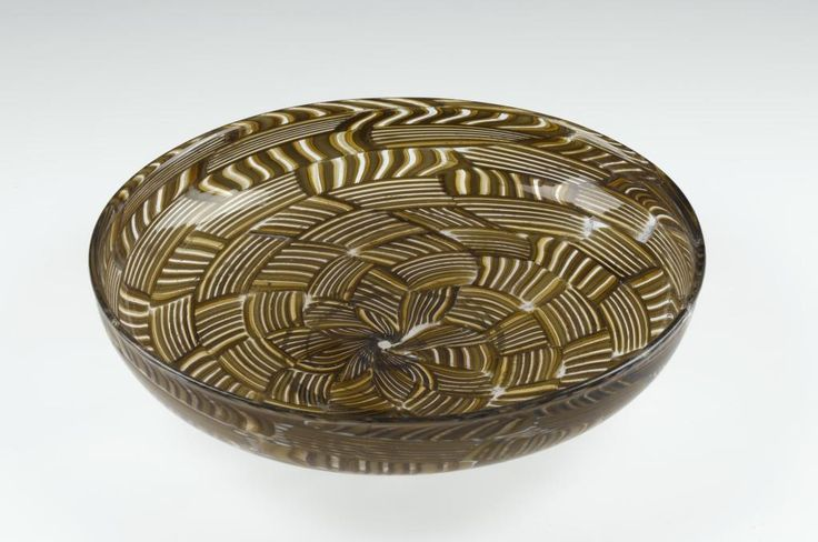 Patera of murrhine glass in yellow and brown with crossed spiral bands forming a kind of volute: Italian, Venetian, by Salviati and Co., 19th century