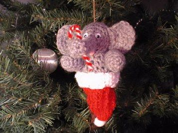 """Free pattern for """"Elephant in Santa Hat Ornament"""" by Pacy Crochets!"""