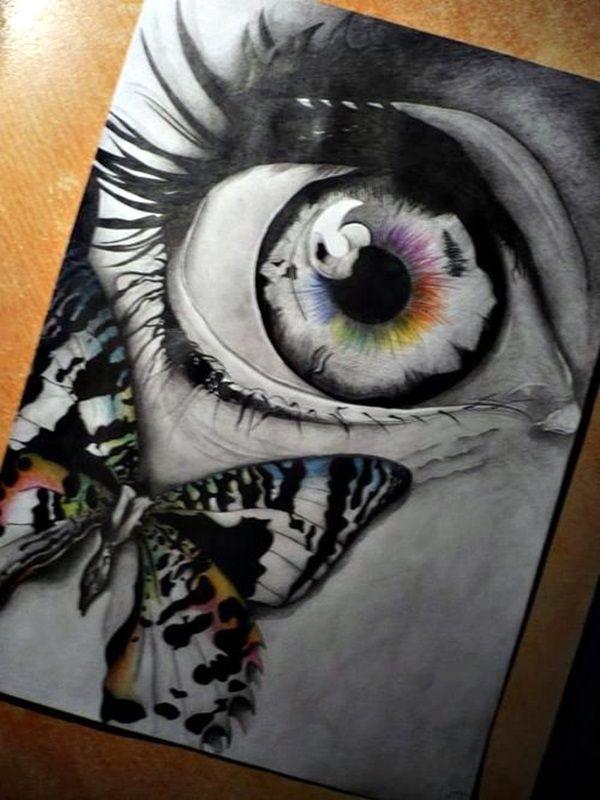 Cette oeuvre se nomme How to Draw an EYE (36)Sure cette oeuvre je vois un œil grand ouvert avec un tatouage d'un papion sur son grand zygomatique.Quand je regarde cette oeuvre je vois de la peur dans l'oeil de cette femme je le sais grâce à la forme de l'œil,je ressent de la surprise dans son n'oeil.