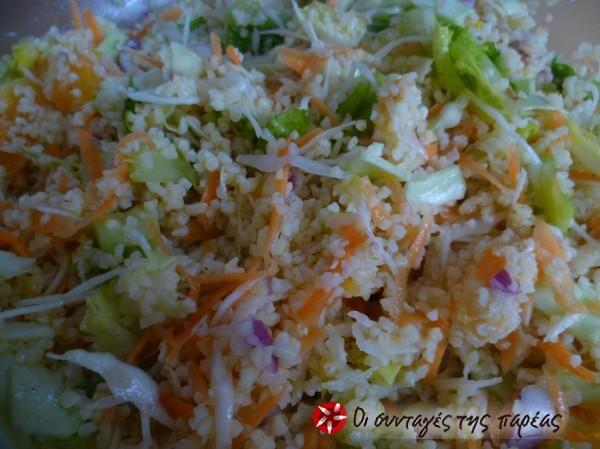 Δροσερή σαλάτα πλιγούρι με πορτοκάλι και λαχανικά #sintagespareas