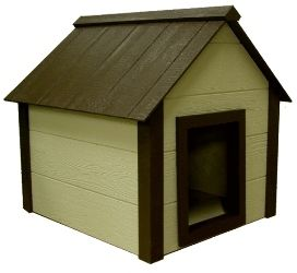 This extra large composite doghouse has a high quality vinyl flap door to protect your pet from the elements and is designed using Eco friendly materials.