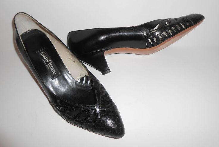 EVAN-PICONE Dress Shoes Heel Medium Black Leather Snake Classic Pump 9.5M Spain  #EVANPICONE #PumpsClassics #Formal