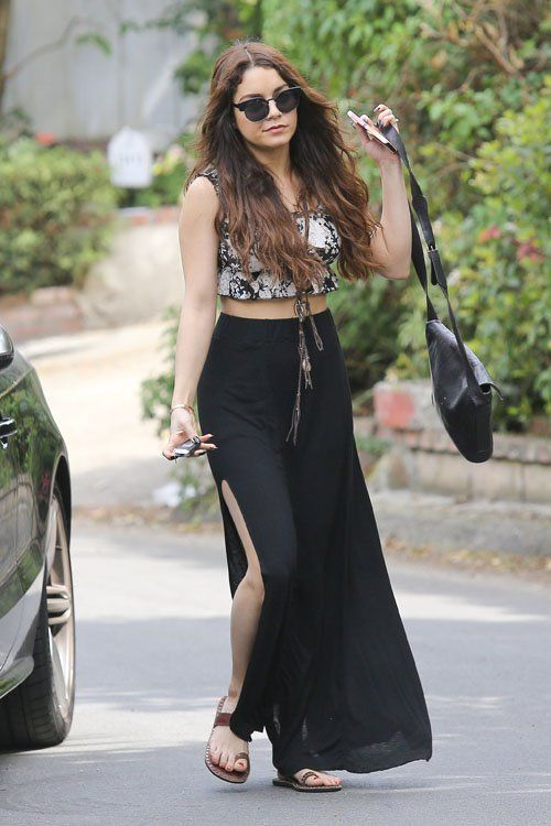 Celeb style inspiration: Vanessa Hudgens in a crop top, maxi skirt & extra-long boho necklace #moreismore
