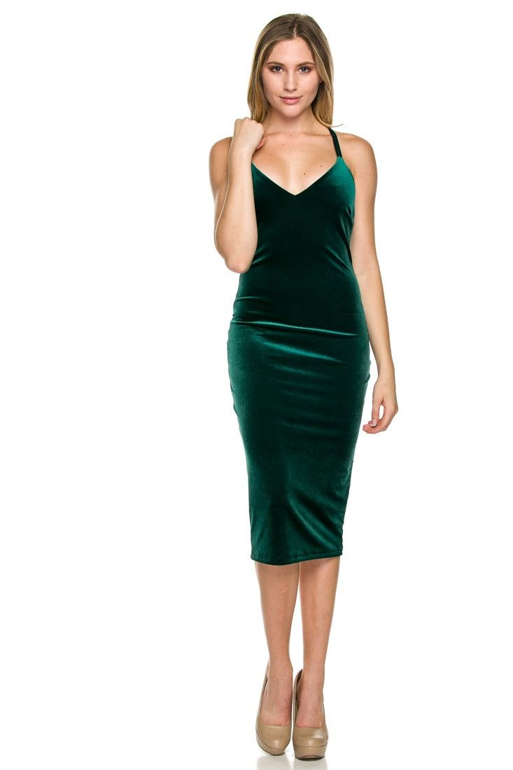 What a stunning little dress! The Spark bodycon dress features green velvet with criss corss back and zipper back. Body hugging in all the right places!