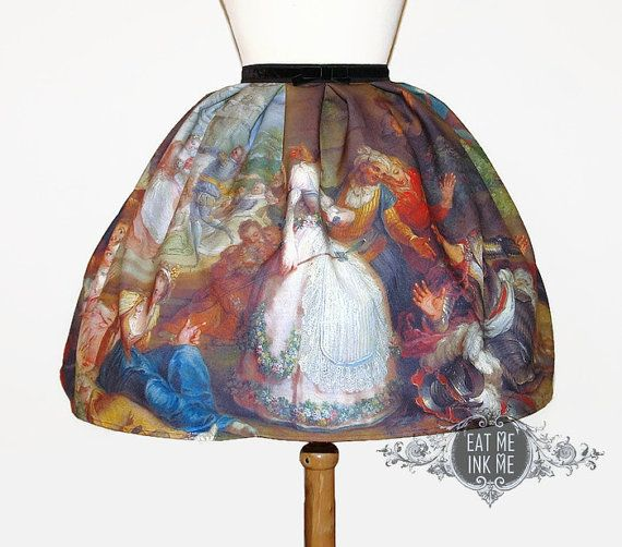 Fine art print skirt | classic lolita OLD MASTERS velvet bow gothic victorian rococo baroque medieval boticelli renaissance prom plus size