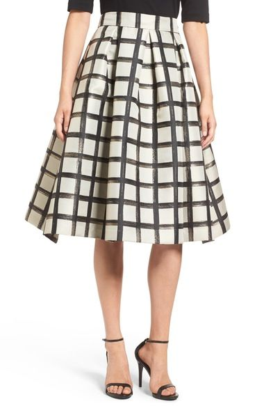 Eliza J Windowpane Metallic Jacquard Midi Skirt available at #Nordstrom
