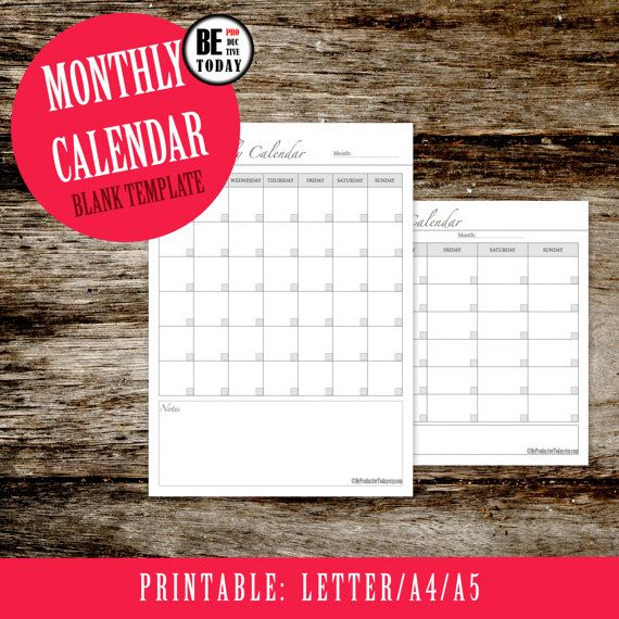 Calendar Template, Monthly Calendar, Blank Calendar, Calendar Planner, Financial Calendar, 2016 Calendar, Filofax Insert, Printable Calendar
