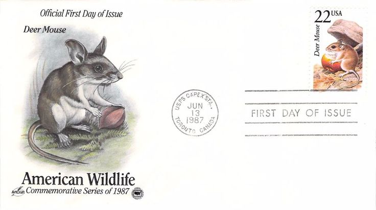 1987 Deer Mouse Hand Colored Art Craft First Day Cover
