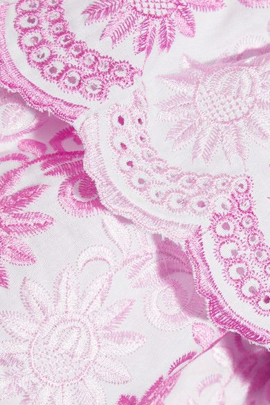 Gül Hürgel (new designer) | Off-the-shoulder striped cotton and linen-blend dress | NET-A-PORTER.COM Bardot off-shoulder neckline with large ruffled border of pink floral lacy collar and sleeves to complement the gray,white, and pink stripes of the dress. Wear with sandals for a perfect summer dress. CLOSEUP OF THE COLLAR & SLEEVE RUFFLE EMBROIDERY AND NEEDLEWORK AND COLORS.