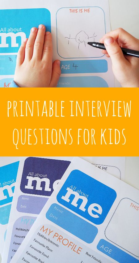 Printable interview questions for kids, all about me printables, writing centre activities about me,