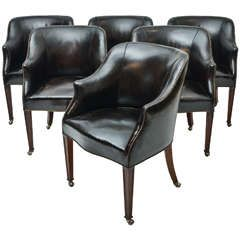 Depending on table, arm chairs for dining room?  Set of Six 1940s Leather Upholstered Dining Chairs from London's Carlton Club