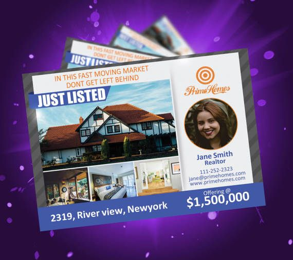 Real Estate Advertising Postcard  Editable in MS Word