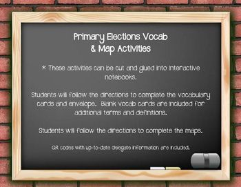 Teach your students about the primary election process with these vocab and map activities. Students will create an interactive notebook envelope and define vocabulary terms about primary elections. Students will then complete 3 map activities: color